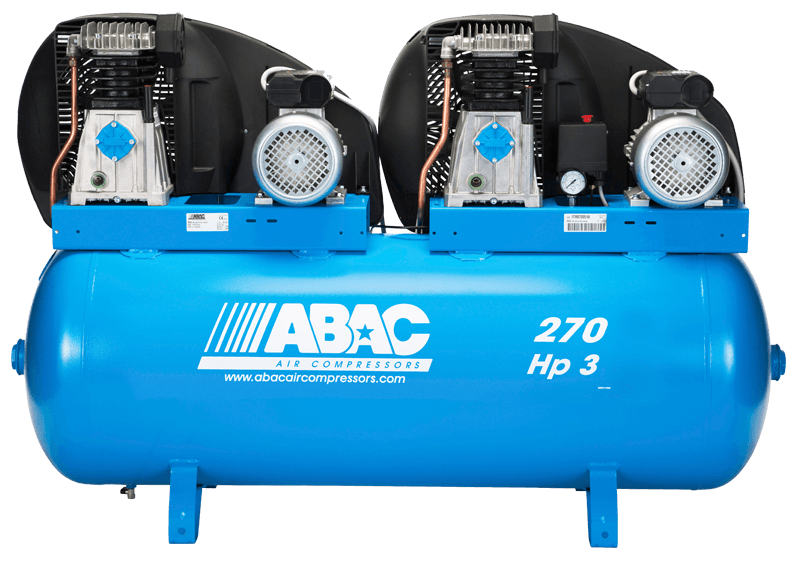 Abac A39 Pro 1 Phase 6 Hp 270 Litre Tandem Air Compressor